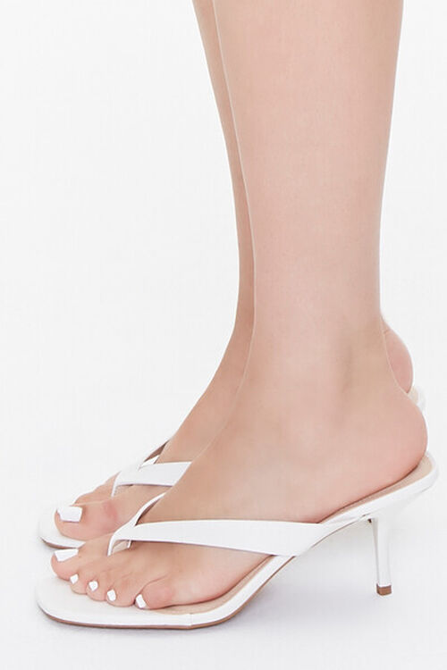 Faux Leather Toe-Thong Heels, image 2