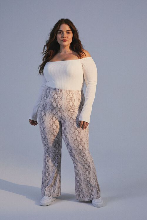 Plus Size Jordyn Snake Print Flare Pants, image 1