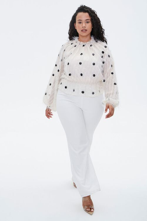 Plus Size Feathered Polka Dot Top, image 4