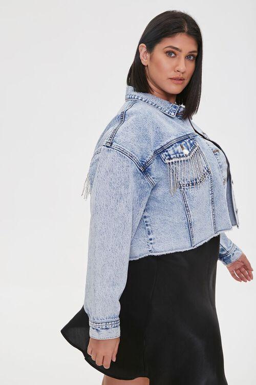 Plus Size Rhinestone Denim Jacket, image 2