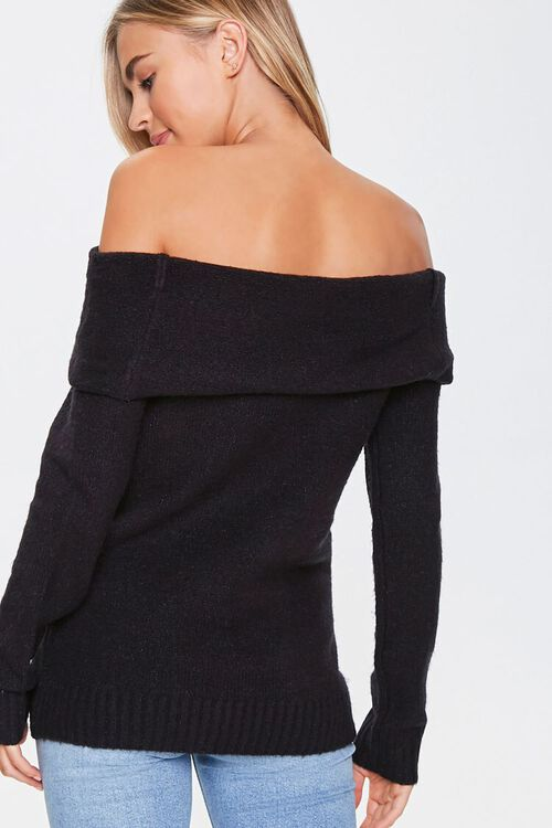Off-the-Shoulder Ribbed Trim Sweater, image 3