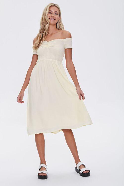 Smocked Off-the-Shoulder Midi Dress, image 4