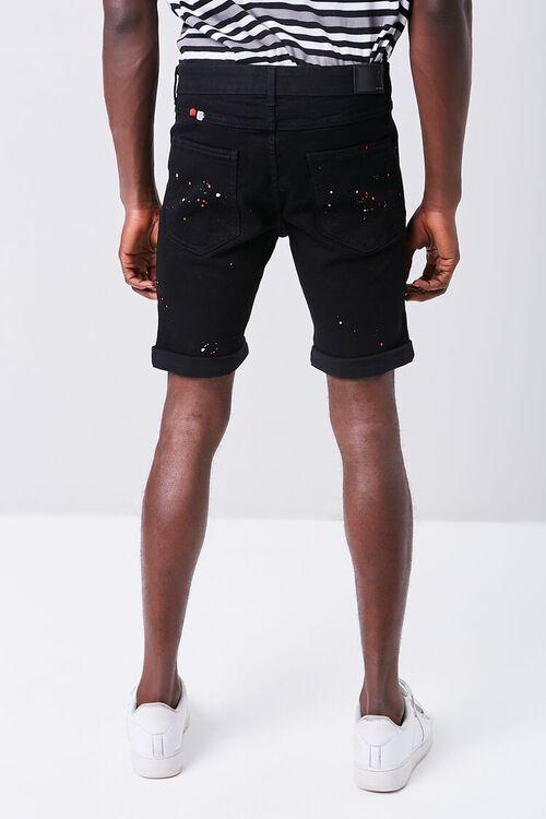 Paint Splatter Distressed Denim Shorts, image 4