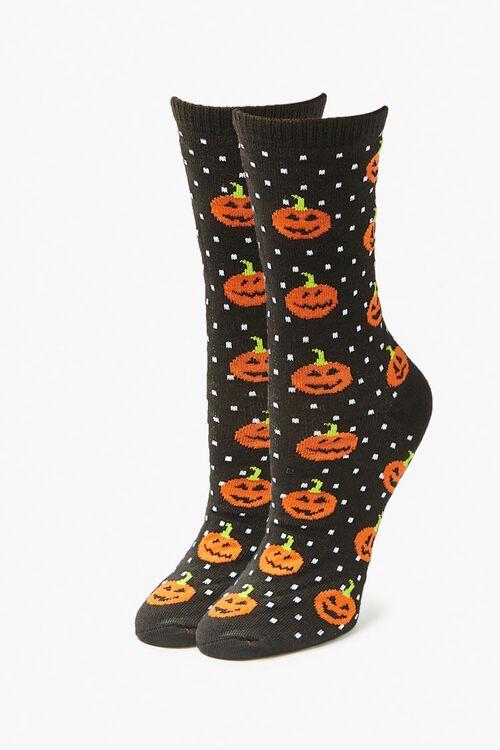 Dotted Jack-O-Lantern Crew Socks, image 1