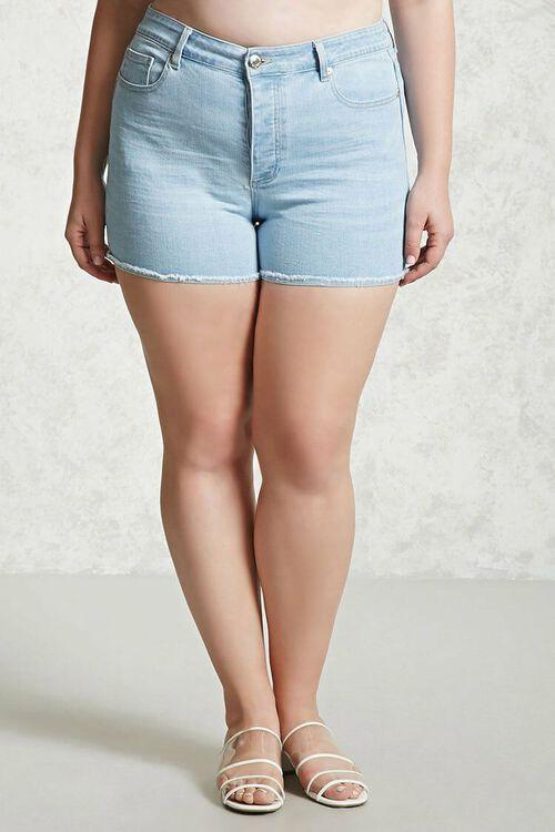 LIGHT DENIM Plus Size Frayed Denim Shorts, image 4