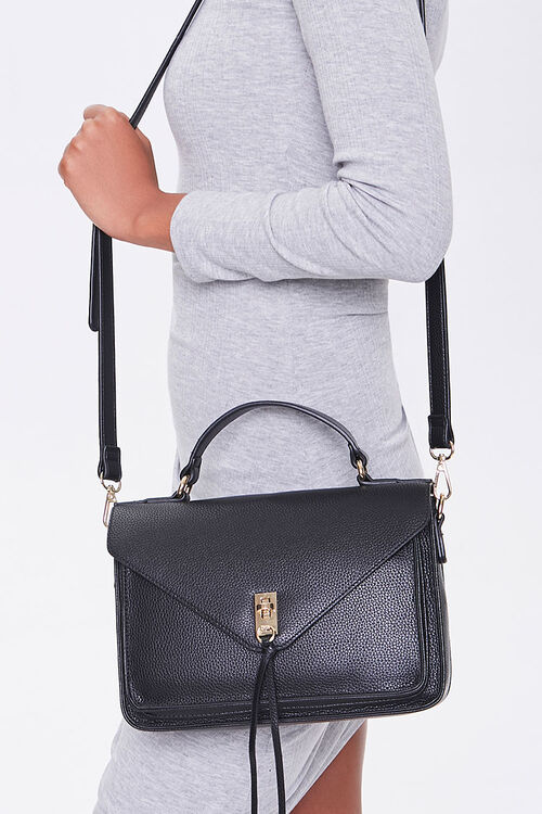 Faux Leather Flap-Top Crossbody Bag, image 1