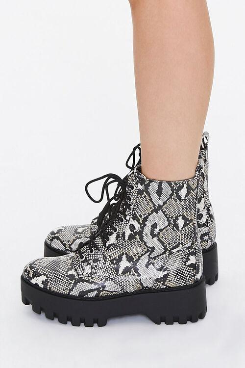 Faux Snakeskin Platform Boots, image 2