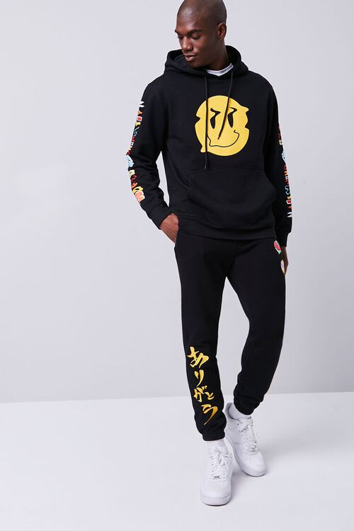 BLACK/MULTI Smiling Face Embroidered Graphic Joggers, image 4