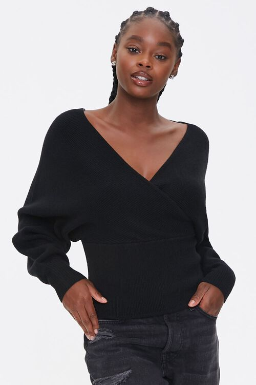 Ribbed Surplice Batwing Sweater, image 1
