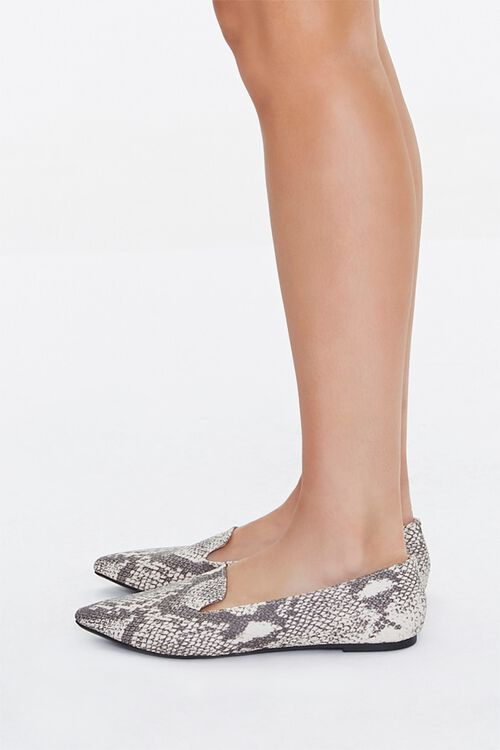 TAUPE/MULTI Pointed Snake Print Loafers, image 2