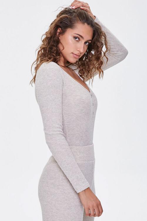 Ribbed Knit Henley Bodysuit, image 2