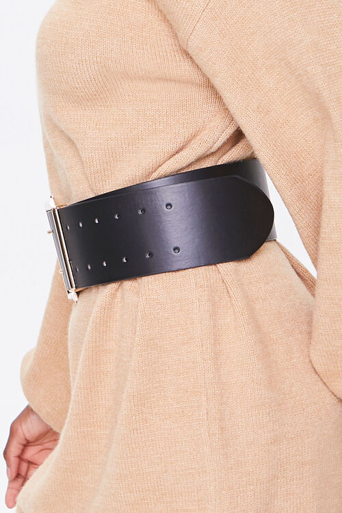 Wide Faux Leather Waist Belt, image 2