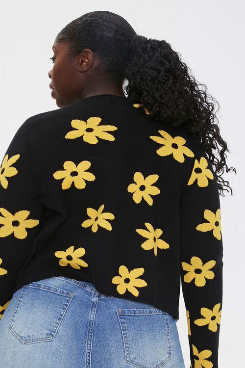 Plus Size Daisy Print Cardigan Sweater, image 3