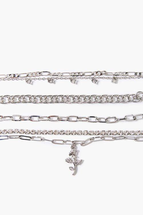 SILVER Rose Pendant Bracelet Set, image 1