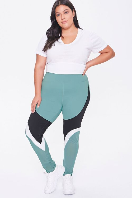 Plus Size Active Colorblock Leggings, image 1