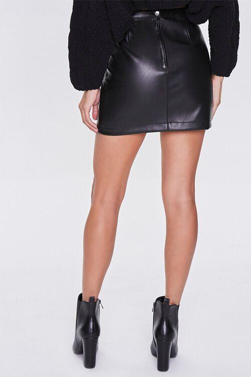 BLACK Faux Leather Mini Skirt, image 4