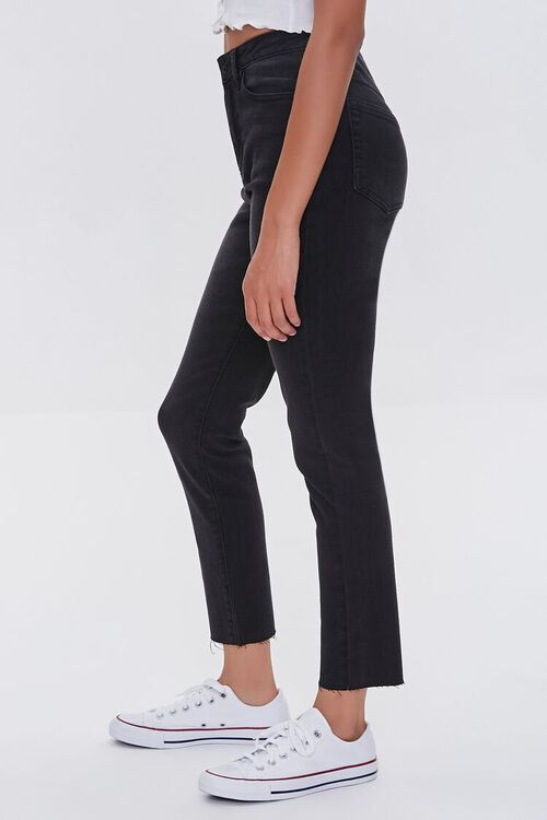 WASHED BLACK Essentials High-Rise Frayed Jeans, image 3