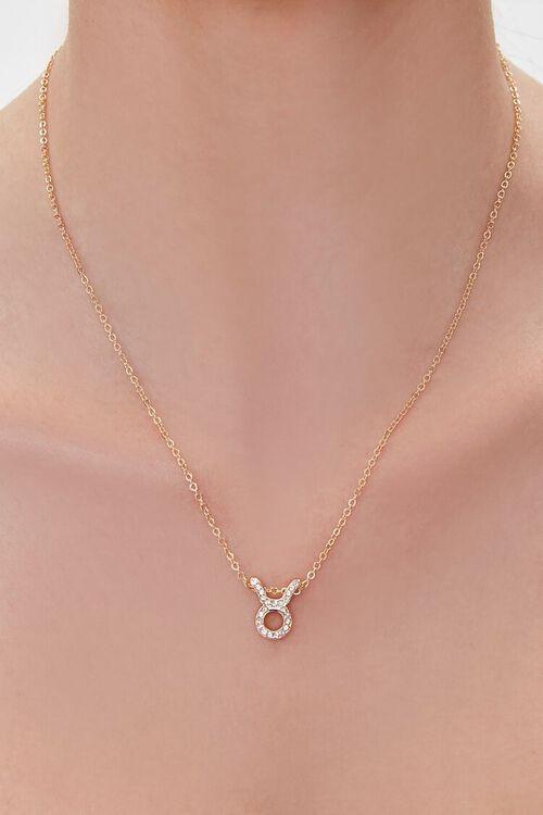 GOLD/TAURUS Zodiac Pendant Necklace, image 1