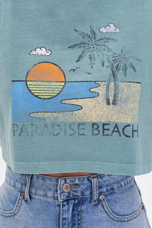 BLUE/MULTI Paradise Beach Graphic Crop Top, image 5