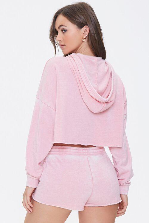PINK Hooded Heathered Pajama Top, image 3