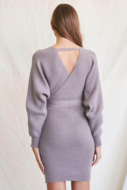 LIGHT GREY Sweater-Knit Wrap Dress, image 3