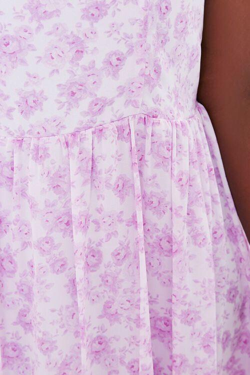 LAVENDER/MULTI Plus Size Floral Flounce-Trim Mini Dress, image 5