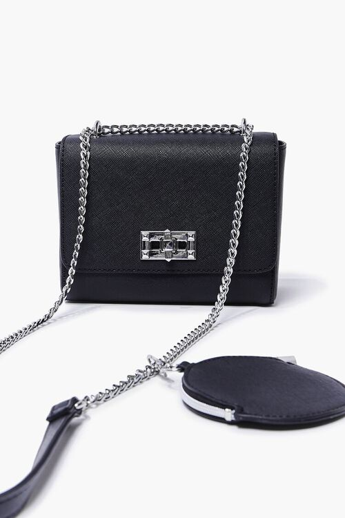BLACK Faux Leather Crossbody Bag, image 1