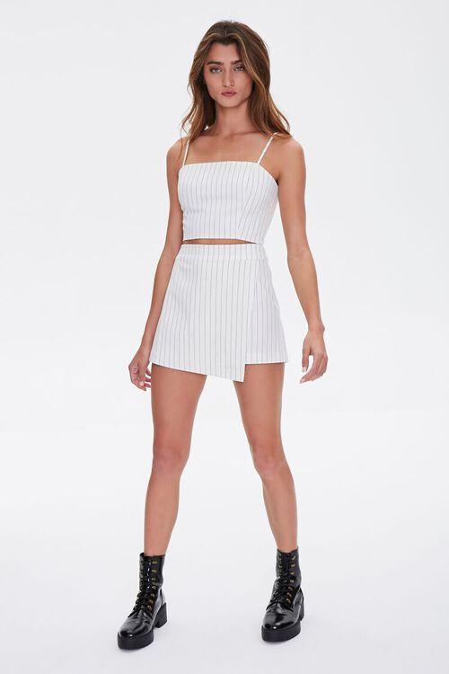 WHITE/BLACK Pinstriped Cropped Cami, image 4