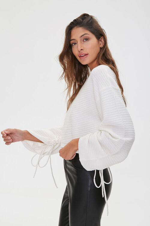 Ribbed Ruched-Sleeve Sweater, image 2