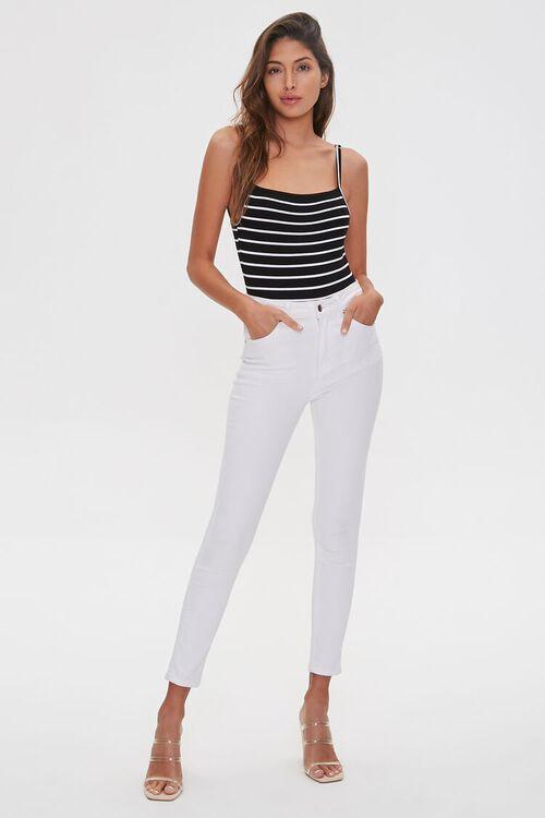 BLACK/WHITE Ribbed Cami Bodysuit, image 4