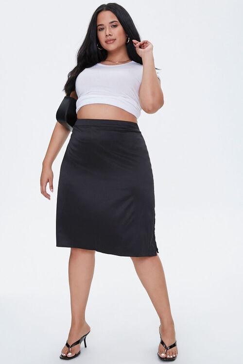 Plus Size Satin Midi Skirt, image 5