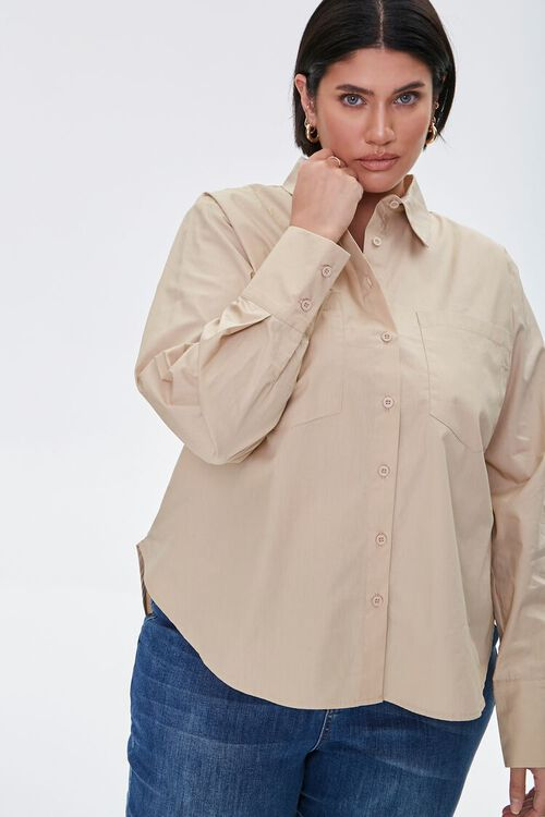 Plus Size Button-Up Shirt, image 1