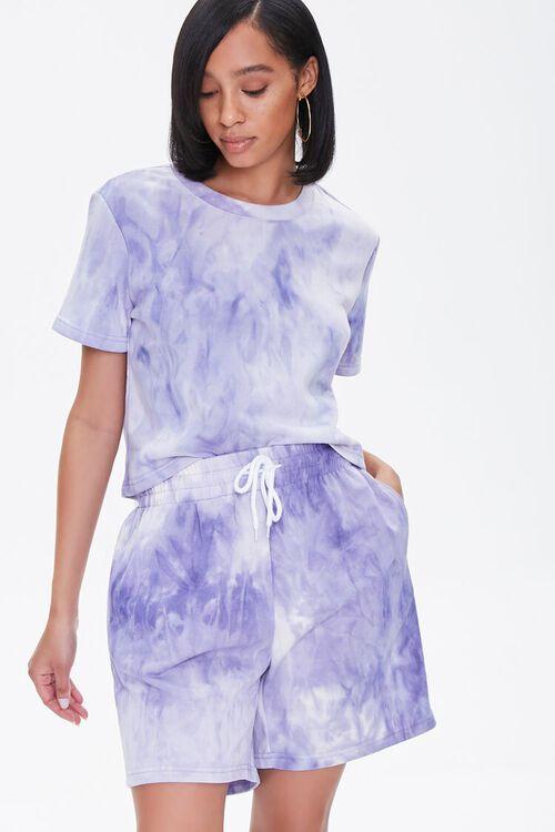 LAVENDER/CREAM Tie-Dye Tee & Shorts Set, image 1