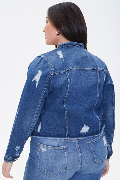 Plus Size Frayed Denim Jacket, image 3