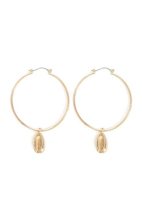 Cowrie Hoop Earrings, image 1