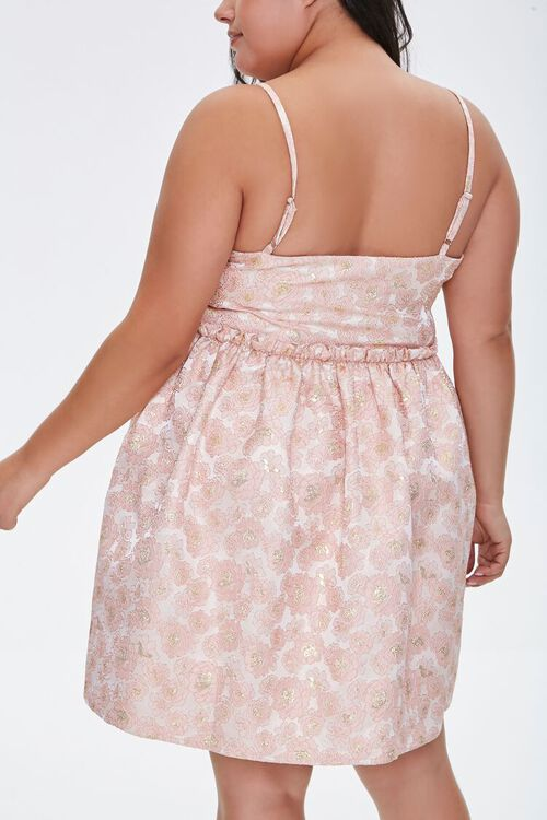 Plus Size Jacquard Rose Print Dress, image 3