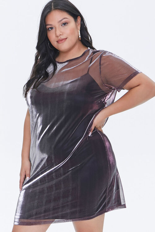 Plus Size Metallic T-Shirt Dress, image 1