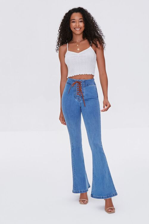 Lace-Up Flare Jeans, image 1