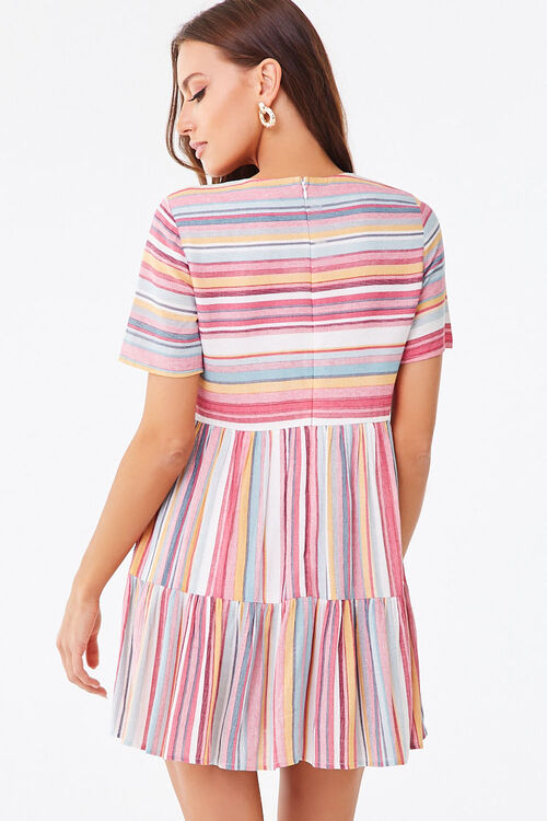 PINK/MULTI Multicolored Striped Tiered Dress, image 3