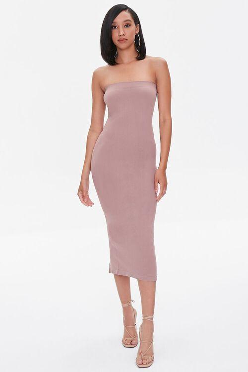 DUSTY LAVENDER Seamless Strapless Bodycon Midi Dress, image 4