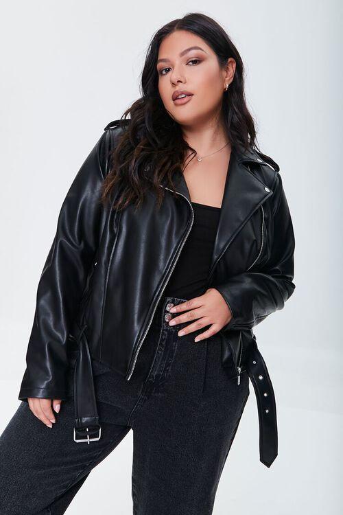 BLACK Plus Size Faux Leather Moto Jacket, image 5