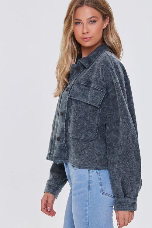 CHARCOAL Reverse Fleece Drop-Sleeve Jacket, image 2