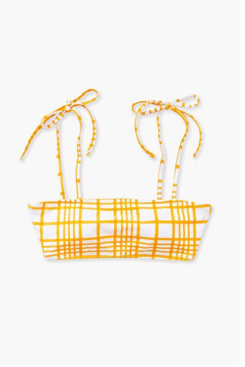Plaid Tie-Strap Bikini Top, image 4