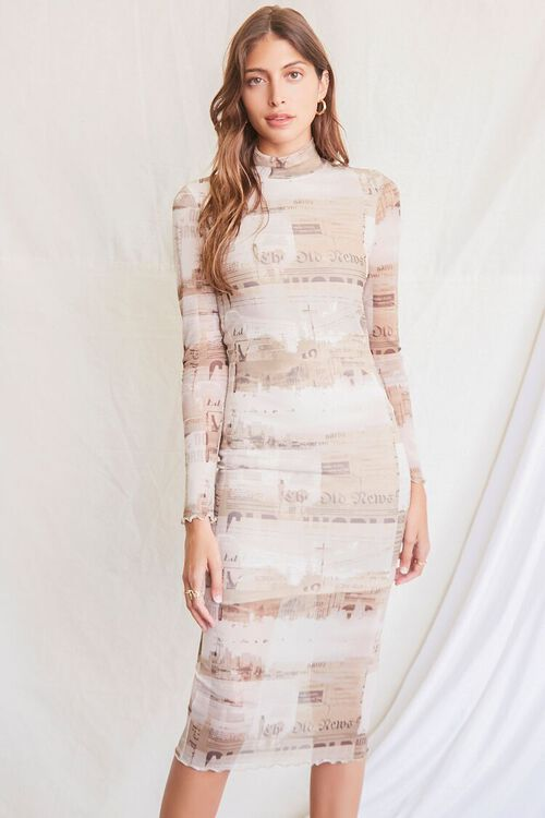 LIGHT BROWN/MULTI Newspaper Print Bodycon Dress, image 1