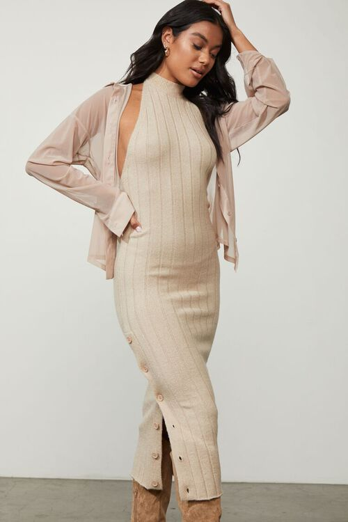 TAUPE Sweater-Knit Ribbed Halter Midi Dress, image 2