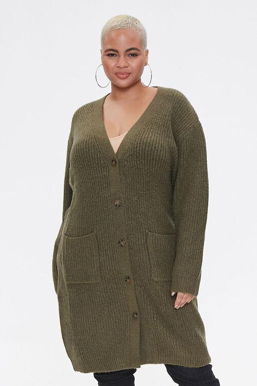 Plus Size Longline Cardigan Sweater, image 1