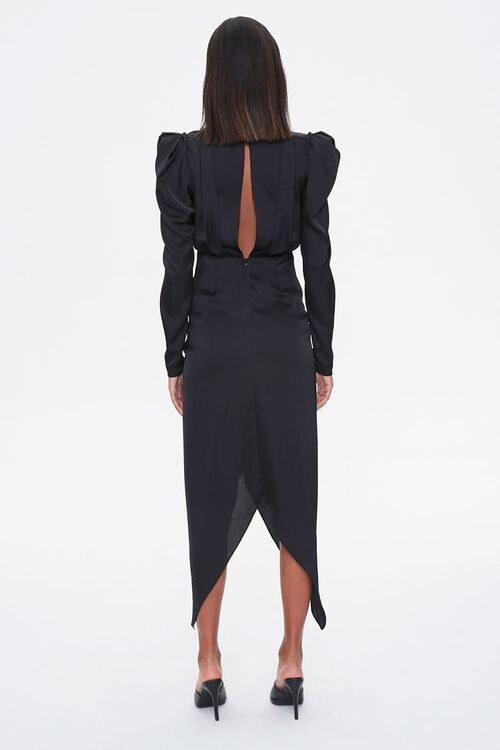 Ruched Puff-Sleeve Midi Dress, image 3