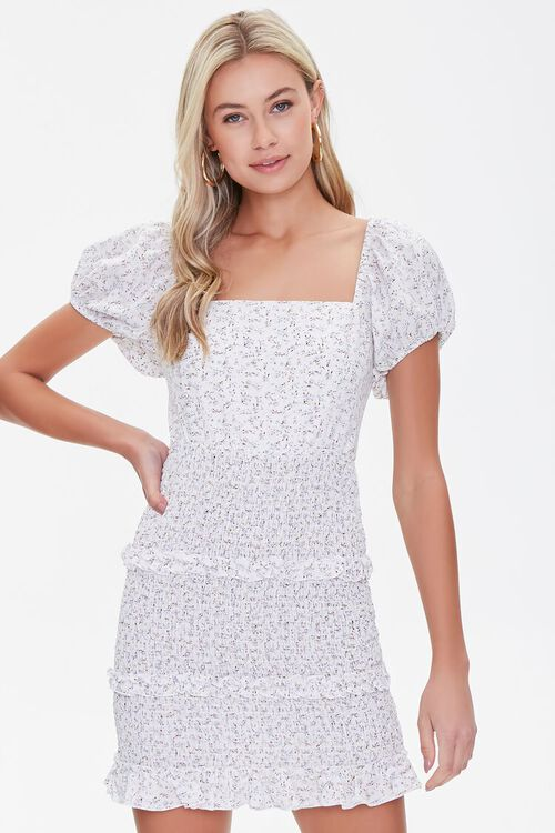 Floral Lace-Back Mini Dress, image 1