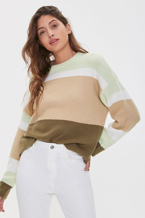 Multistriped Drop-Sleeve Sweater, image 1