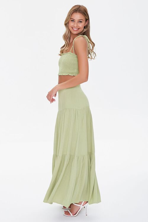 Smocked Cropped Cami & Tiered Skirt Set, image 2